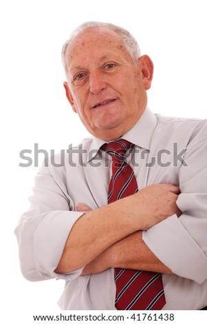 Senior businessman smiling (isolated on white) - stock photo