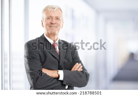 Senior businessman standing at office. Business people. - stock photo