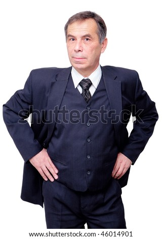 senior businessman with curious look - stock photo