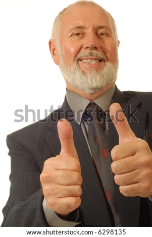 Senior businessman with thumbs up; focus on hands, isolated on white
