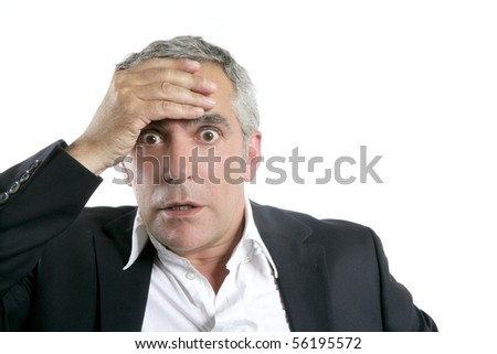 senior businessman worried expression hand in head gray hair - stock photo