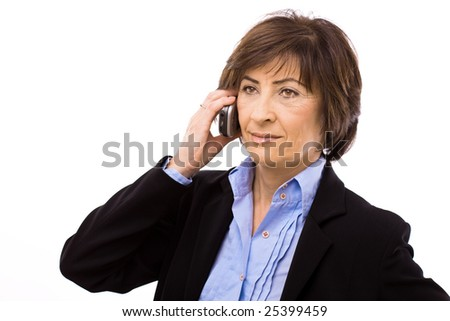 Senior businesswoman calling on mobile phone isolated on white background.