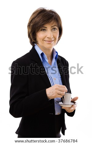 Senior businesswoman drinking coffee, isolated on white background.