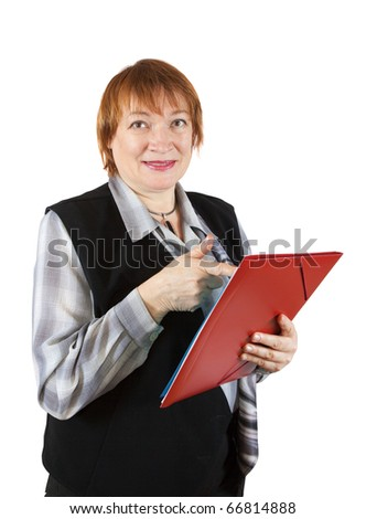 senior businesswoman with documents. Isolated on white