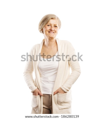 Senior casual woman style portrait, studio shot, isolated on white background - stock photo