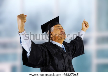 Senior citizen who has graduated from school - stock photo
