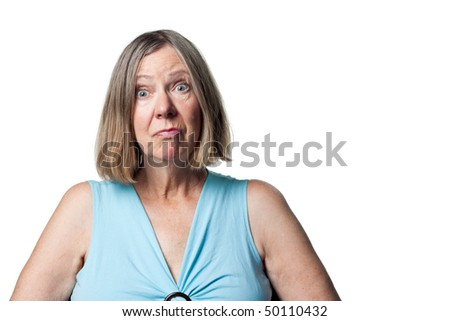 Senior citizen with a look of surprise. Eyes wide open - stock photo