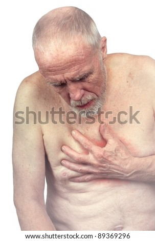 Senior Citizen with Chest Pain - stock photo