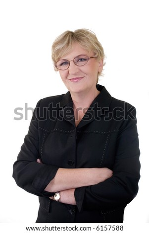 senior confident business woman in 50s, vertical portrait - stock photo