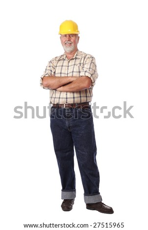 Senior construction worker standing full height isolated on white