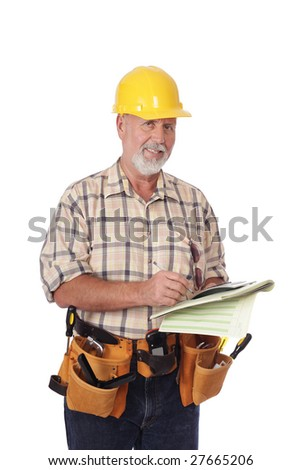 Senior construction worker writing out an estimate for a client - stock photo