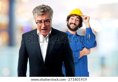 senior cool man angry boss concept - stock photo