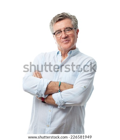 senior cool man confidence pose - stock photo