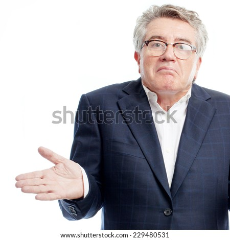 senior cool man confused pose - stock photo