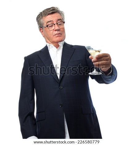 senior cool man drunk concept - stock photo