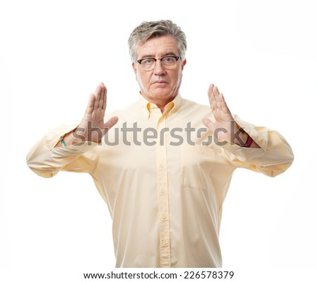 senior cool man hold sign - stock photo