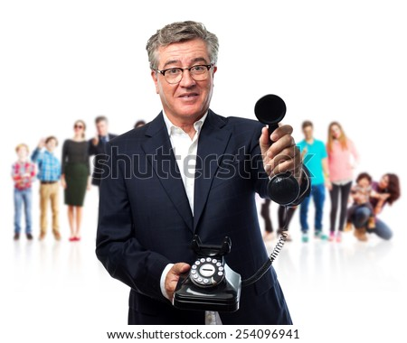 senior cool man offering a phone - stock photo