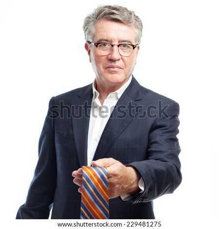 senior cool man offering a tie - stock photo