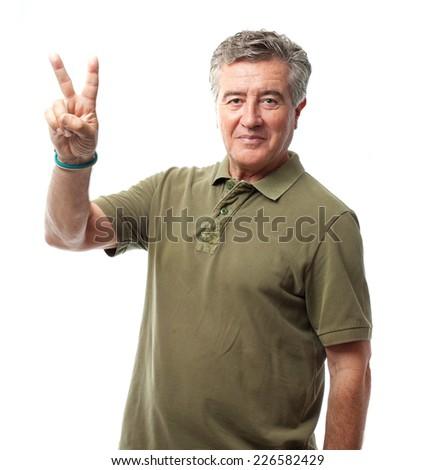 senior cool man peace gesture - stock photo