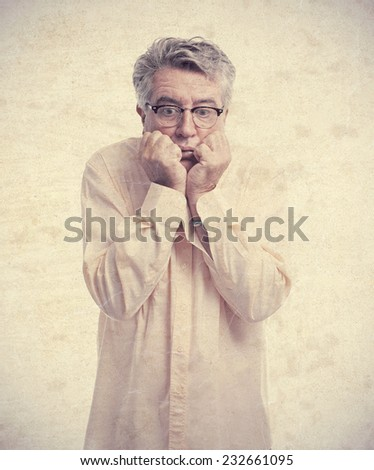 senior cool man scared - stock photo