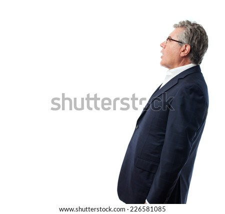 senior cool man surprised - stock photo