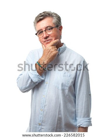 senior cool man thinking - stock photo