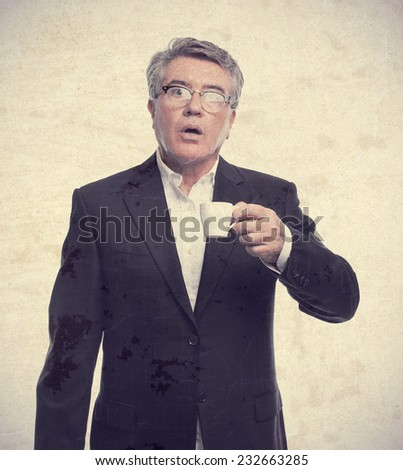 senior cool man with a coffee - stock photo
