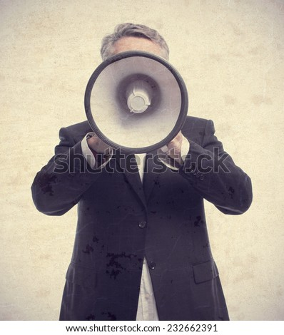 senior cool man with a megaphone