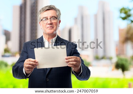 senior cool man with a placard - stock photo