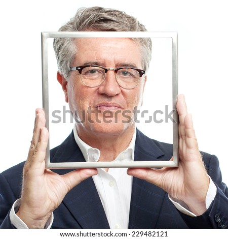 senior cool man with a steel frame - stock photo