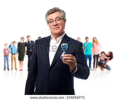 senior cool man with a timer - stock photo