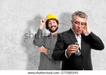 senior cool man worried with a timer - stock photo