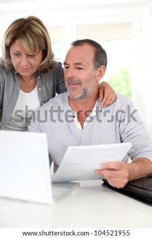Senior couple at home declaring income on internet - stock photo