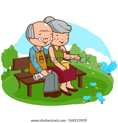 Senior couple at the park. A happy senior couple enjoy the sunny weather in the park while reading the newspaper and feeding the birds. Vector version also available in my gallery. - stock photo