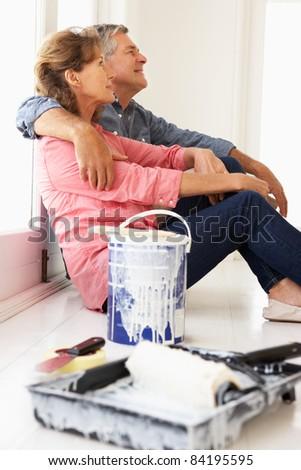 Senior couple decorating house - stock photo