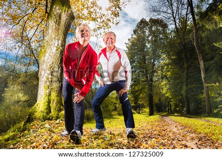 Senior Couple doing stretching on a forest road in the autumn - stock photo