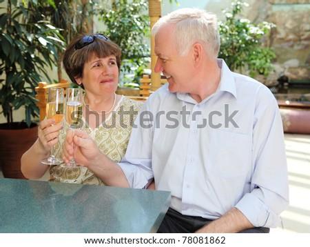 senior couple drinking champagne and celebrating together - stock photo