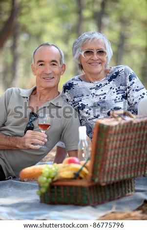 Senior couple enjoying a picnic - stock photo