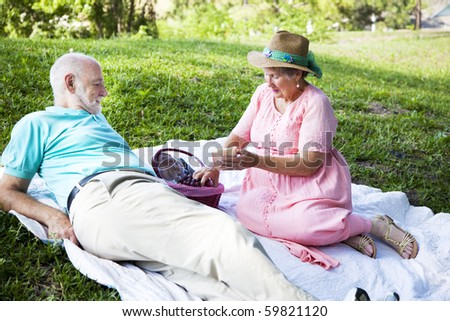 Senior couple enjoys a romantic picnic in the park. - stock photo