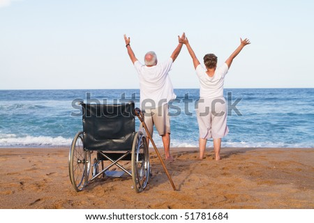 senior couple free from illness or disability - stock photo