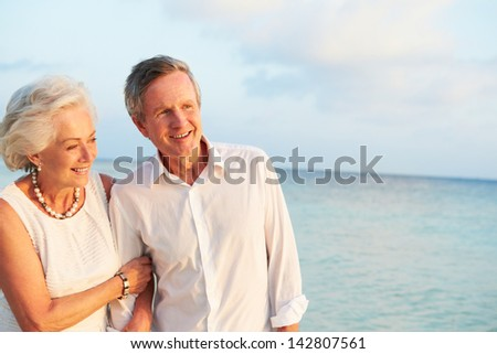 Senior Couple Getting Married In Beach Ceremony - stock photo
