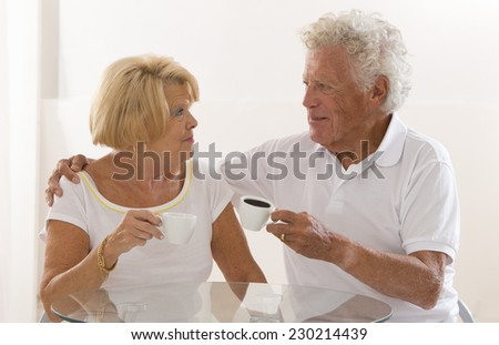 senior couple having a coffee break