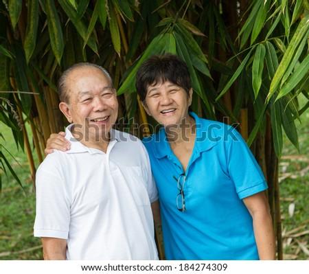 Senior couple having a happy time - stock photo