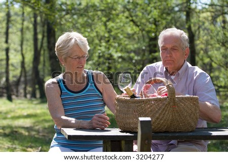 Senior couple having a picnic outside in the park together - stock photo