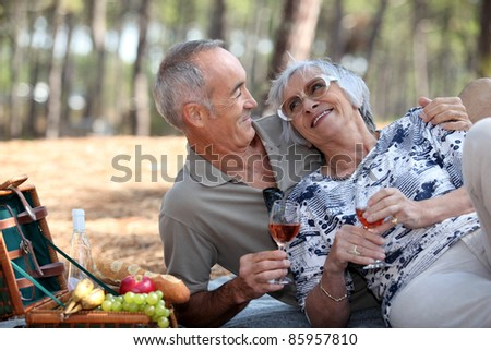 senior couple having a romantic picnic in the park - stock photo
