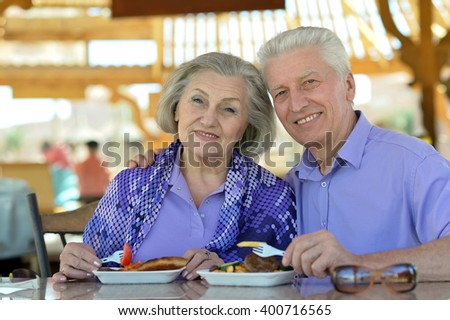 Senior couple having lunch