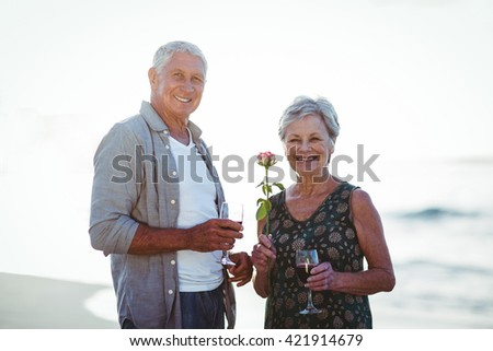 Senior couple holding rose and red wine glasses at the beach - stock photo