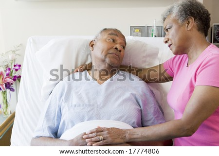 Senior Couple In Hospital Room - stock photo