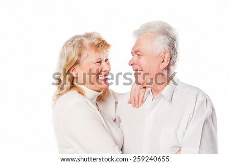 Senior couple in love. Isolated on white background. - stock photo