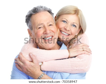 Senior couple in love. Isolated over white background - stock photo